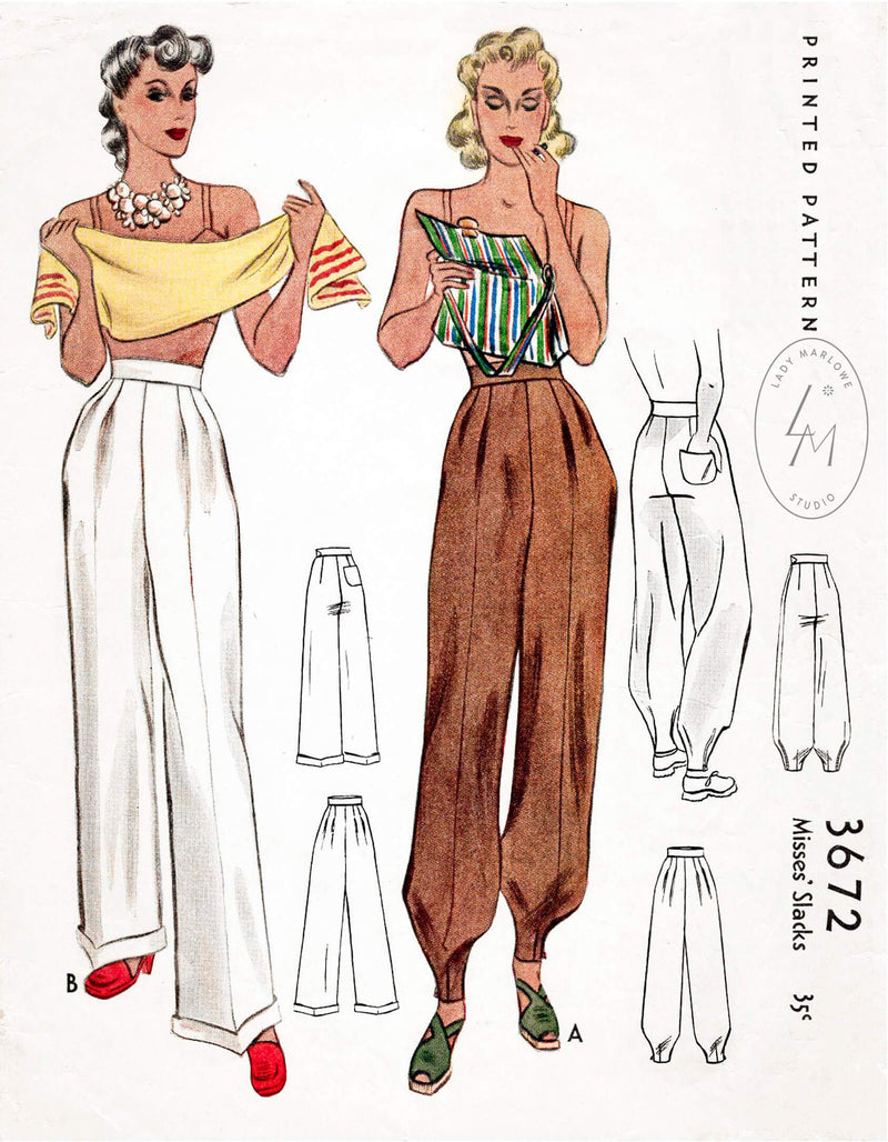 McCall 3672 1940s trousers jodhpurs vintage sewing pattern