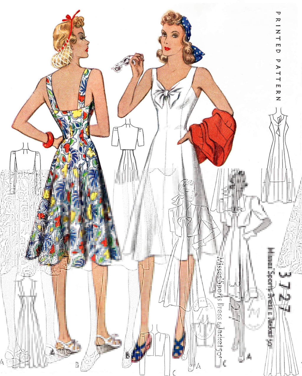 1940s McCall 3727 princess seam sun dress & cropped bolero jacket vintage sewing pattern reproduction