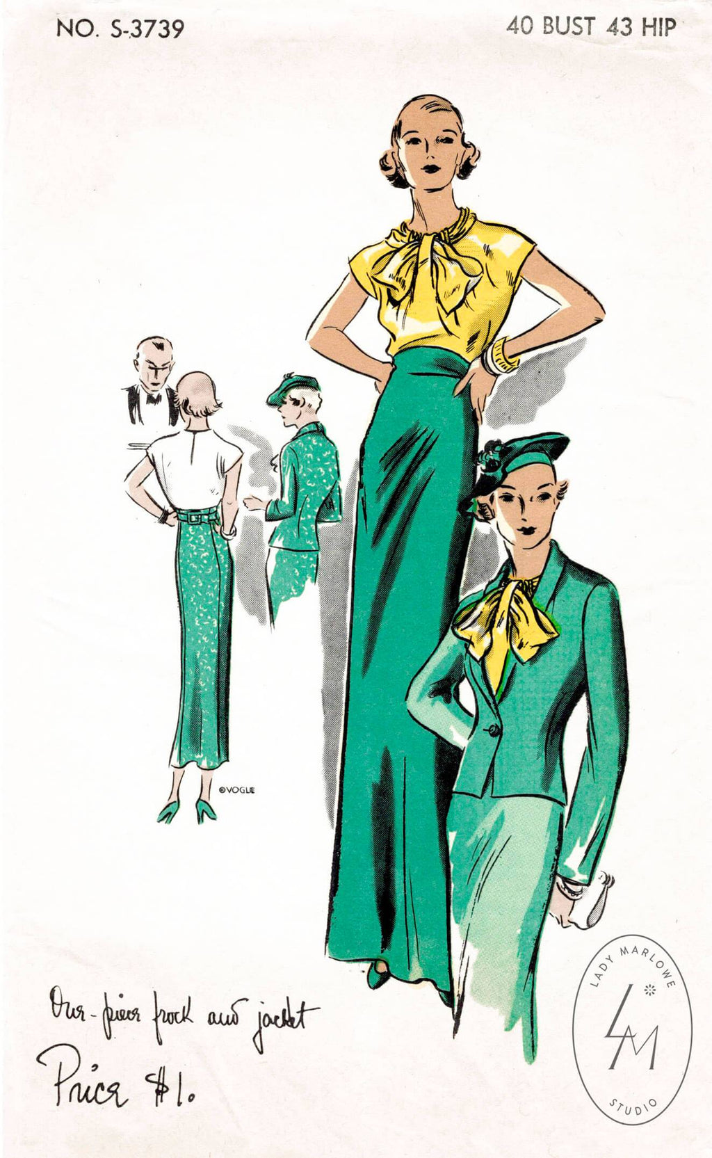 Vogue 3739 1930s evening ensemble blouse jacket skirt pattern