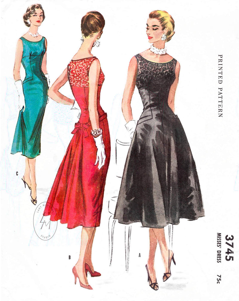 McCall's 3745 1956 cocktail dress empire waist swing skirt vintage sewing pattern reproduction
