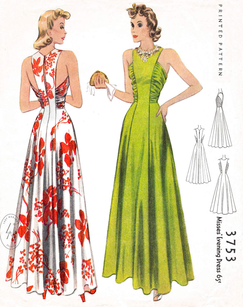1940s 40s McCall 3753 evening gown pattern ruched seams vintage sewing pattern repro