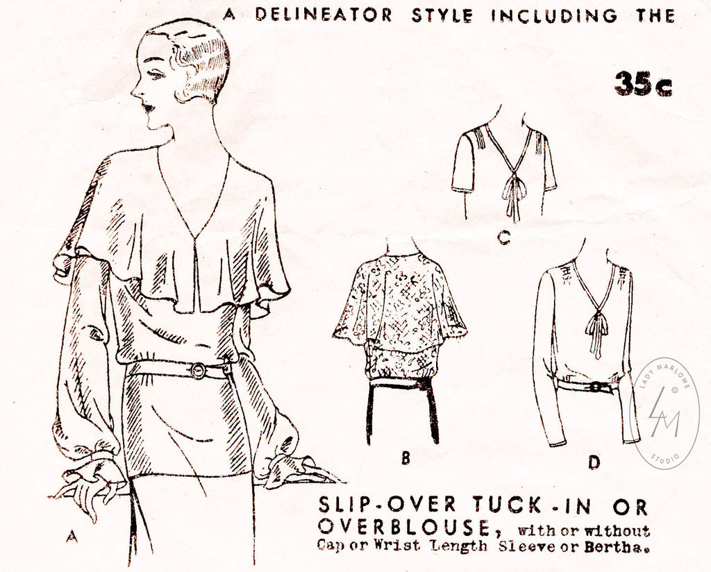 1920s blouse vintage sewing pattern repro bertha collar 4 stylesButterick 3758