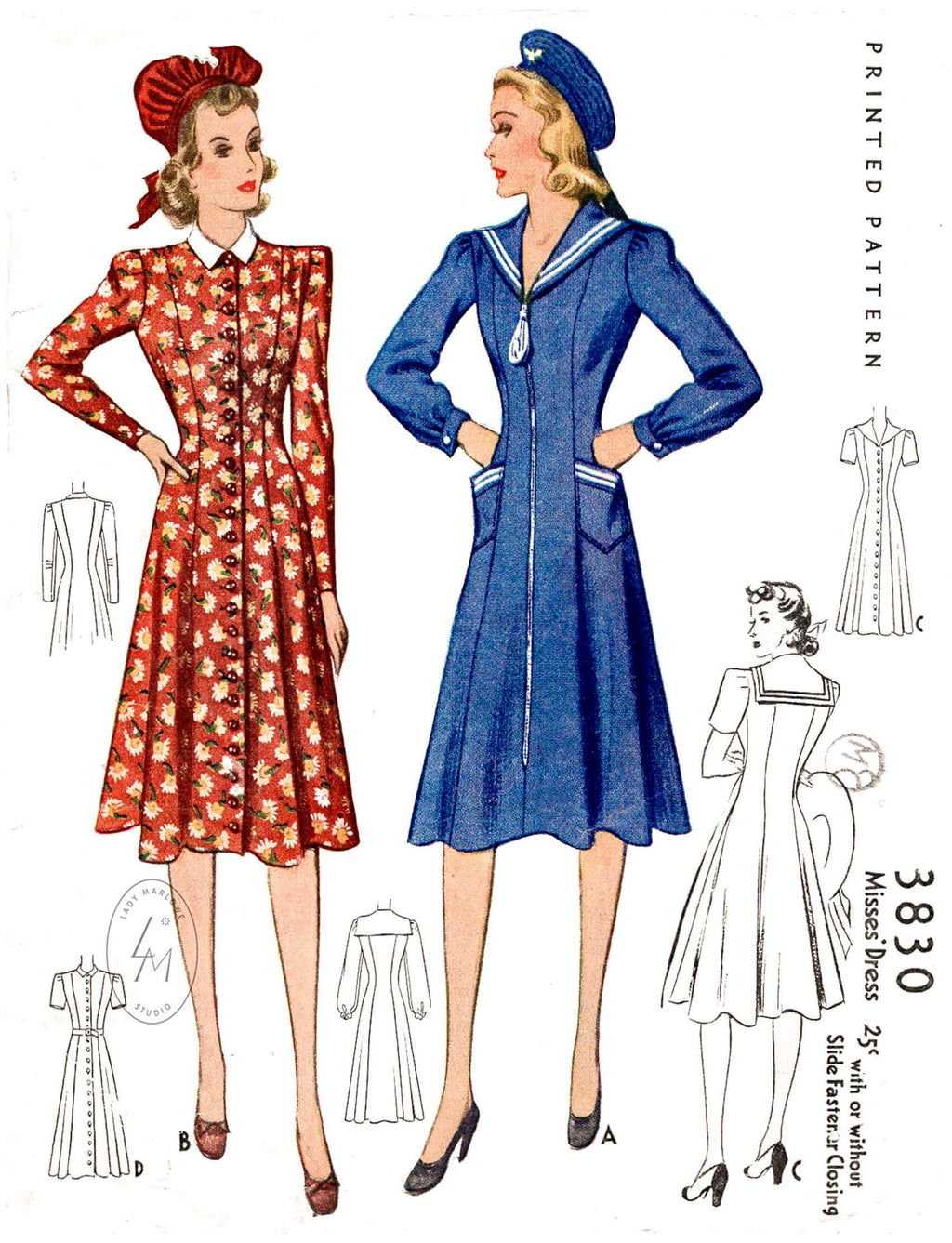 1940s McCall 3830 nautical style dress in 3 variations sailor collar puff sleeves princess seams vintage sewing pattern reproduction