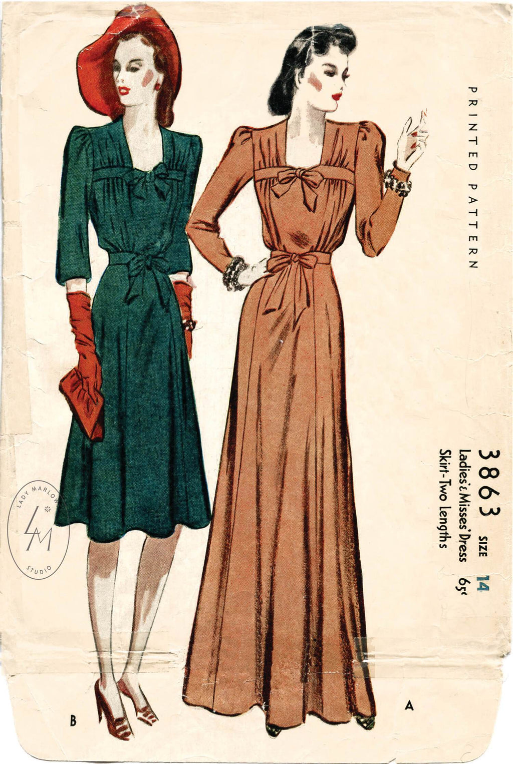 McCall 3863 1940s dress evening gown vintage sewing pattern