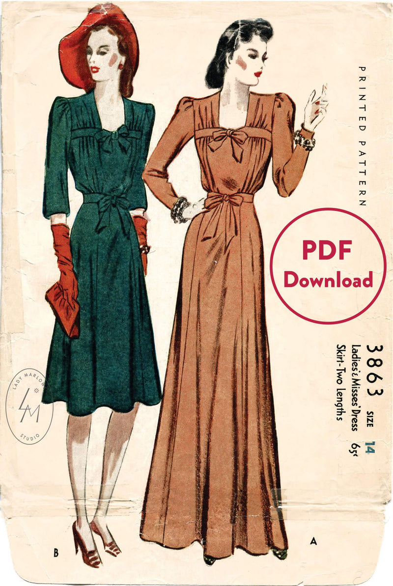 McCall 3863 1940s vintage sewing pattern 1940 40s dress evening gown PDF download