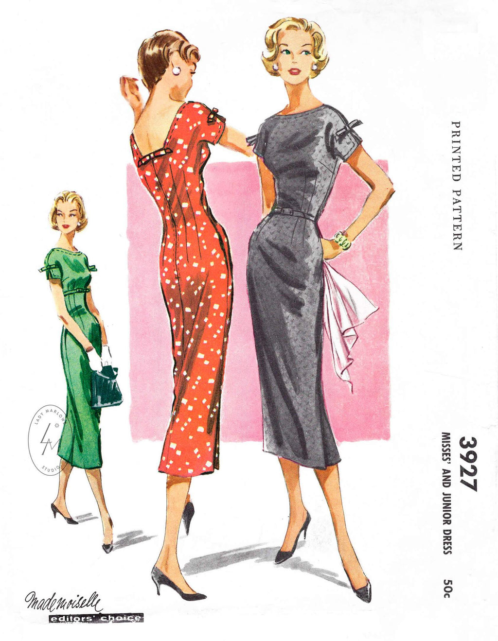 McCall 3927 50s wiggle cocktail dress vintage sewing pattern reproduction