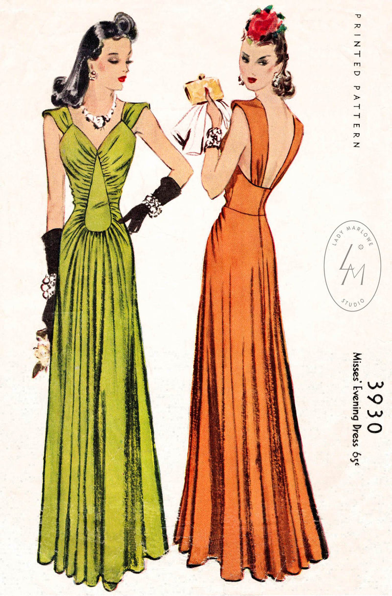 McCall 3930 1940s evening gown film noir style dress vintage sewing pattern reproduction