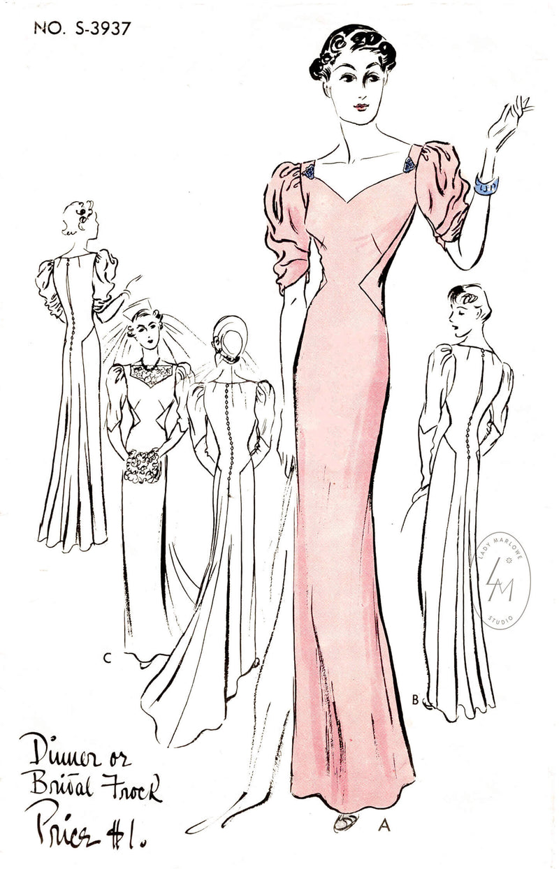 Vogue Special Design 3937 vintage wedding dress sewing pattern reproduction evening bridal option of long train