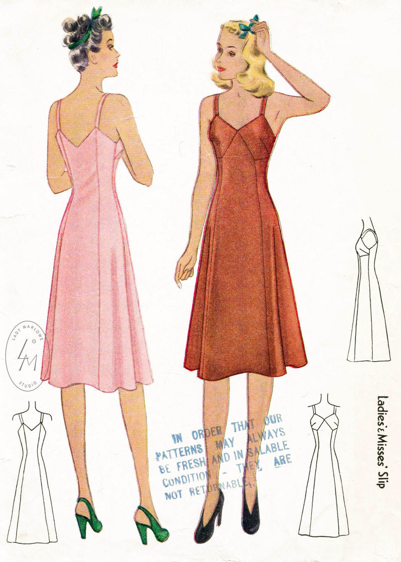 1940s lingerie vintage slip sewing pattern McCall 3948
