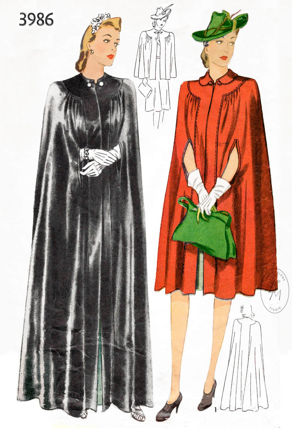 Simplicity 3986 1940s evening opera cape or capelet vintage sewing pattern reproduction