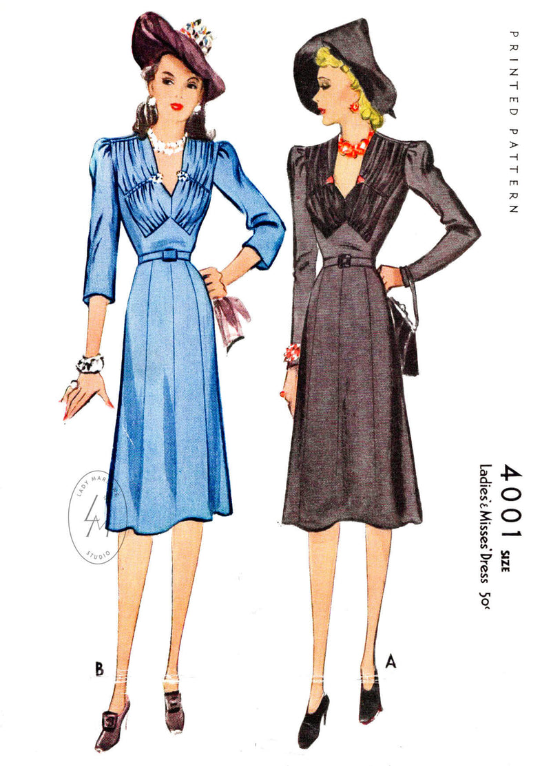 McCall 4001 1940s day dress vintage sewing pattern