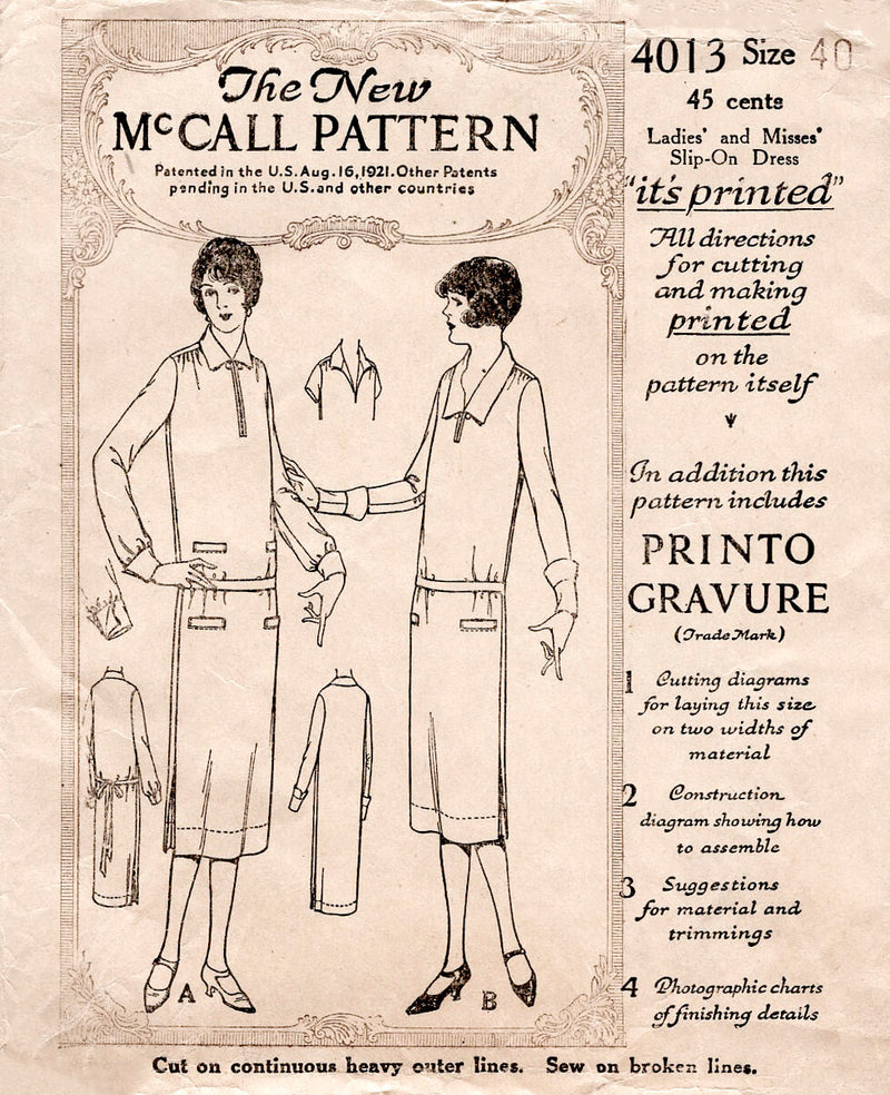 1920s 20s flapper dress McCall 4013 chelsea collar drop waist vintage sewing pattern reproduction