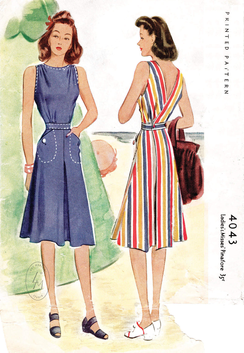 McCall 4043 1940s vintage sewing pattern reproduction pinafore wrap dress