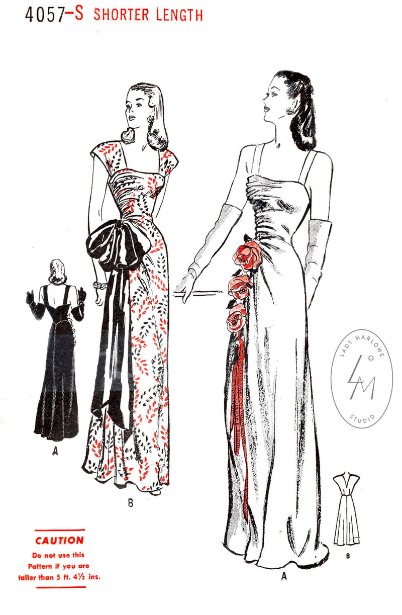Butterick 4057 1940s evening gown dance dress vintage sewing pattern reproduction