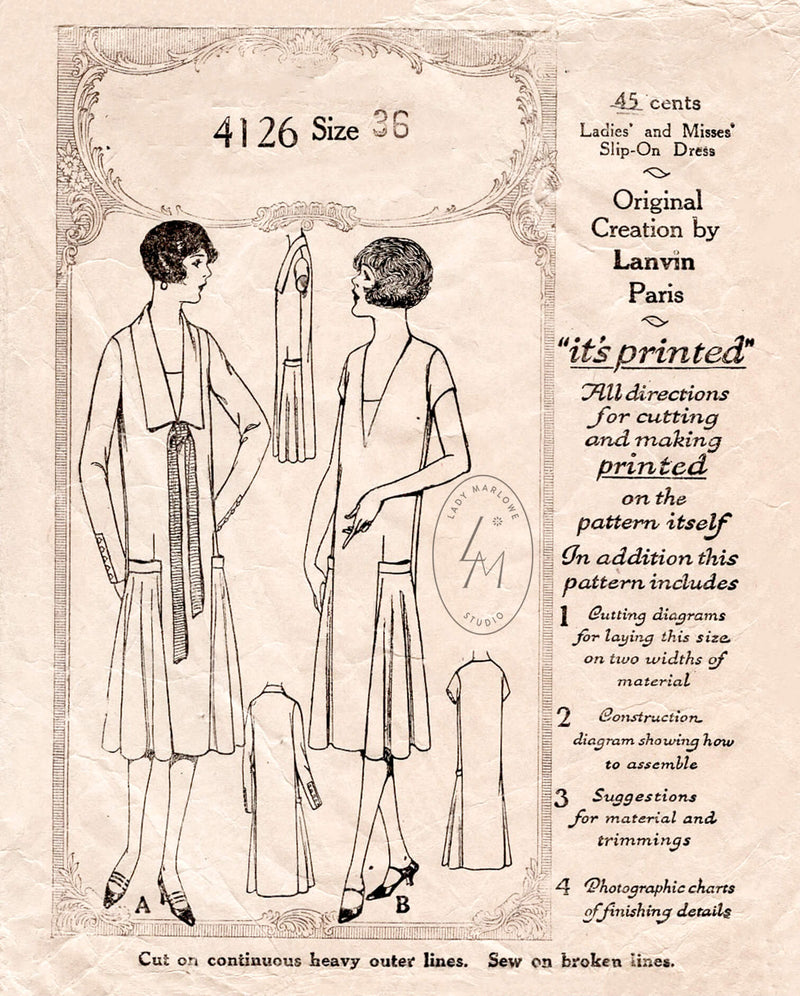 1920s 20s flapper era dress McCall 4126 drop waist flounce skirt insets chelsea collar vintage sewing pattern reproduction