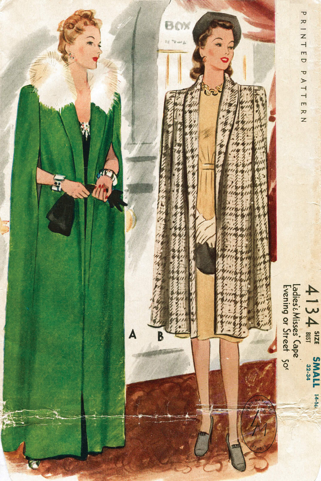 McCall 4134 1940s cape vintage sewing pattern