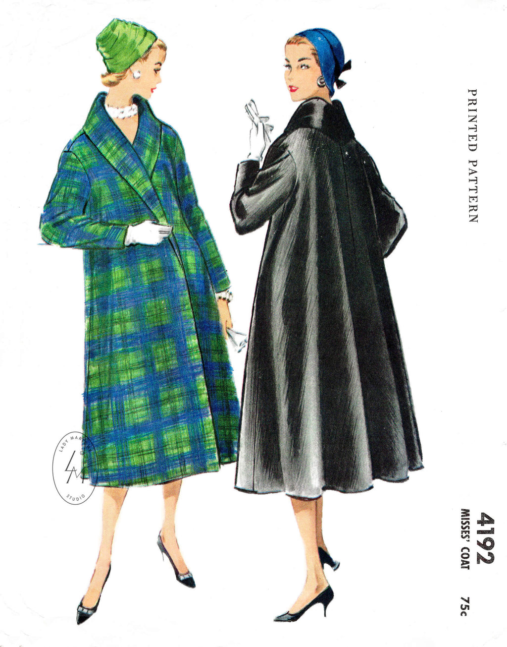McCall's 4192 1950s swing coat with shawl collar vintage sewing pattern reproduction