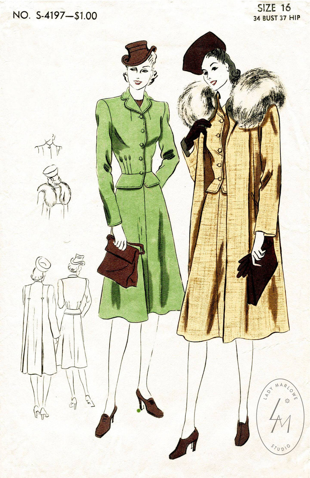 Vogue S-4197 1940s coat jacket skirt vintage sewing pattern