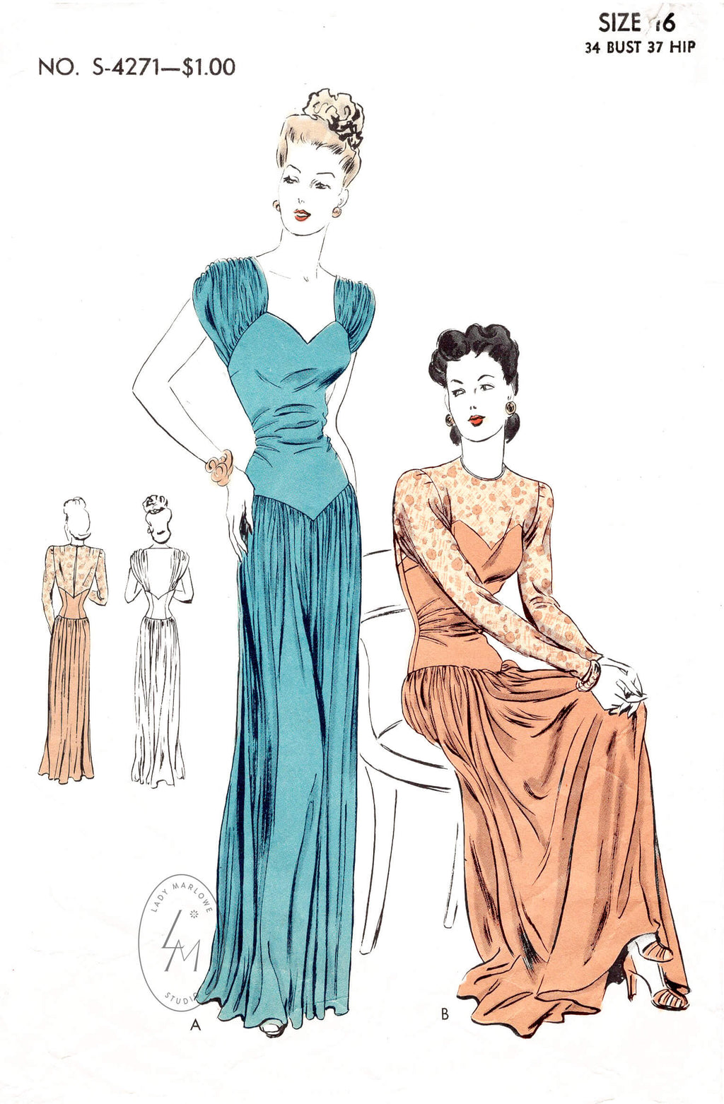 1940s vintage sewing pattern repro film noir dress evening gown in 2 styles Vogue S-4271