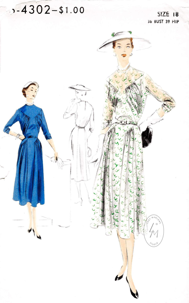 1950s Vogue S-4302 day or afternoon dress vintage sewing pattern ruching draped bodice and skirt repro