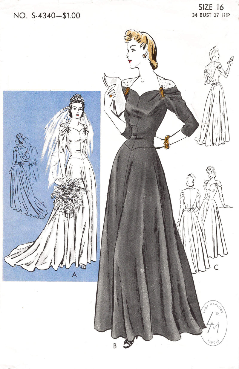 1940s vintage wedding dress or evening gown sewing pattern reproduction Vogue Special Design 4340 bias cut molded bodice & lace insets