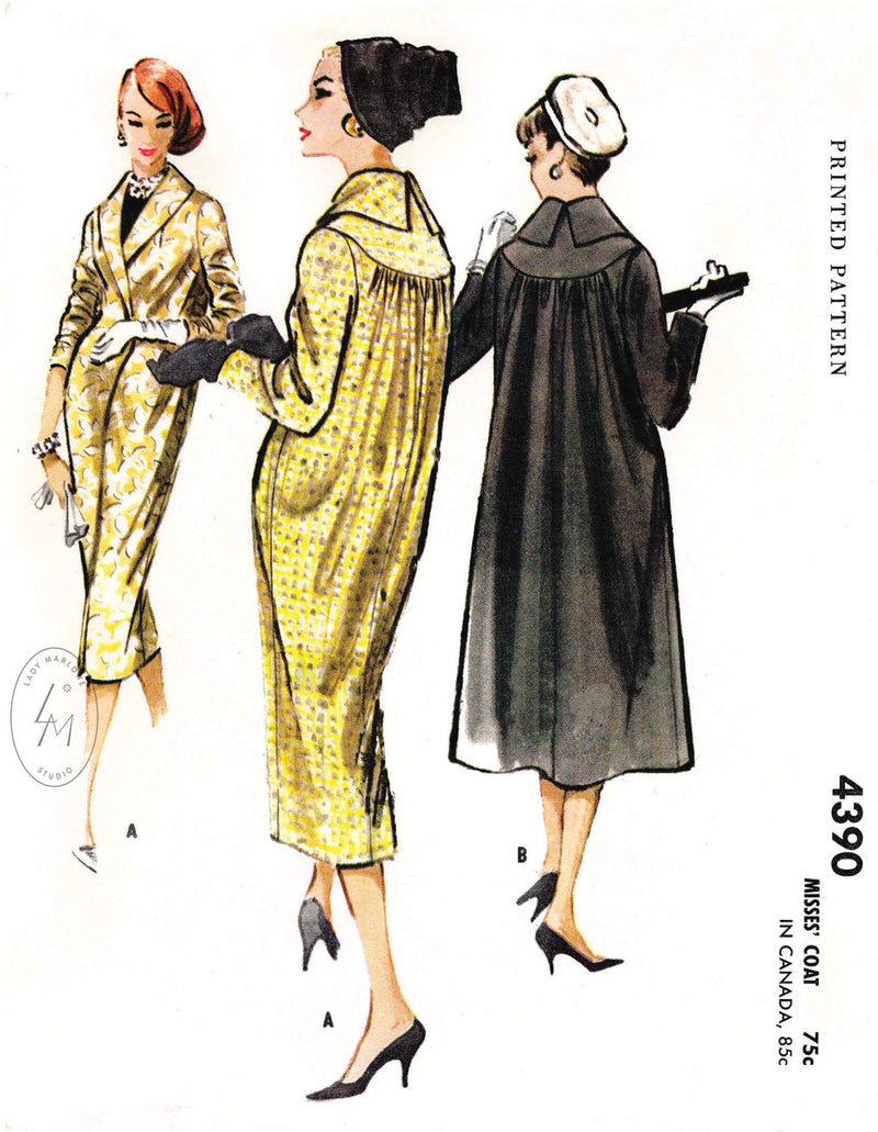 1950s cocoon coat swing coat vintage sewing pattern reproduction McCall's 4390