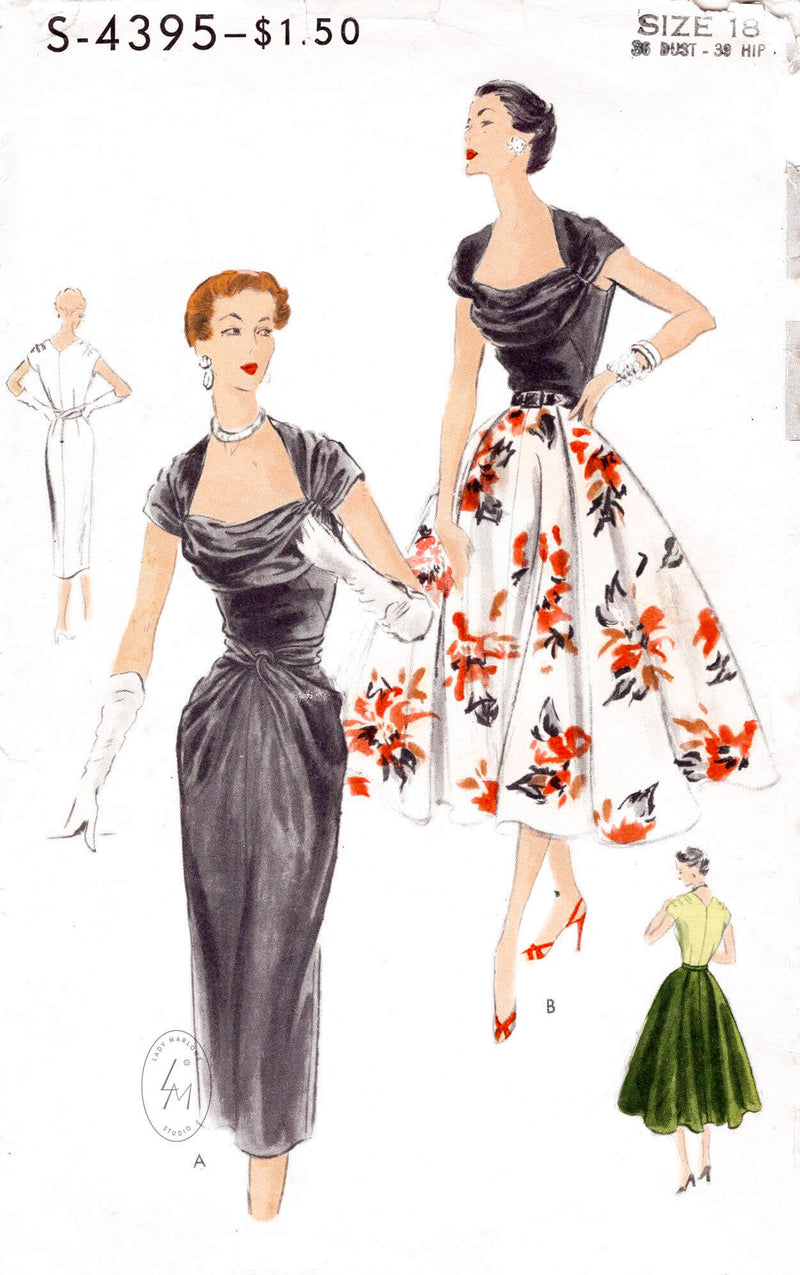 1950s cocktail evening dress Vogue S-4395 portrait neckline wiggle pencil skirt