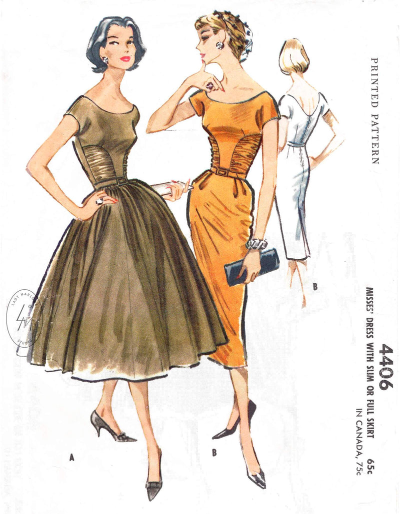 McCall's 4406 1950s 1957 cocktail wiggle dress or full skirt vintage sewing pattern reproduction