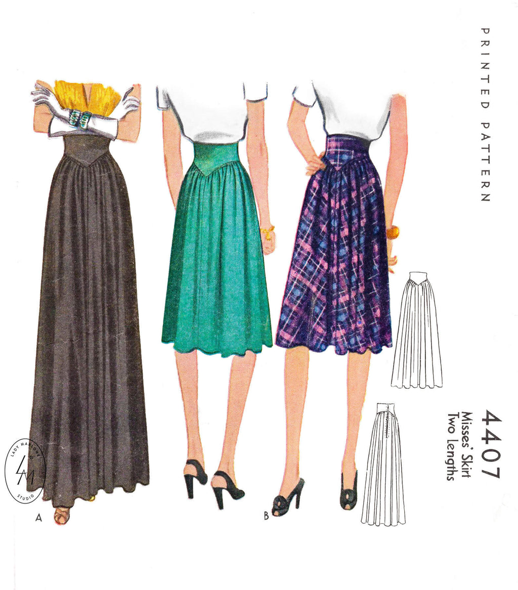McCall 4407 1940s skirt in 2 styles. Wide yoke waistband daytime or evening length. Vintage sewing pattern reproduction