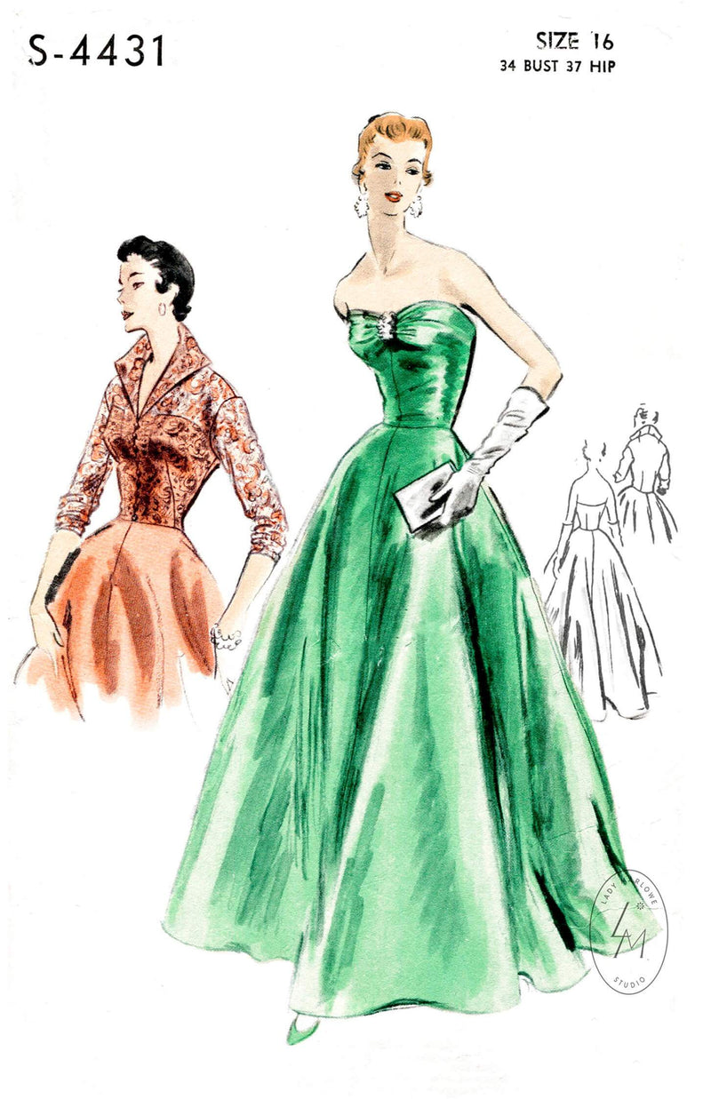 1950s vintage evening dress Vogue S-4431 strapless ball gown & jacket ensemble sewing pattern