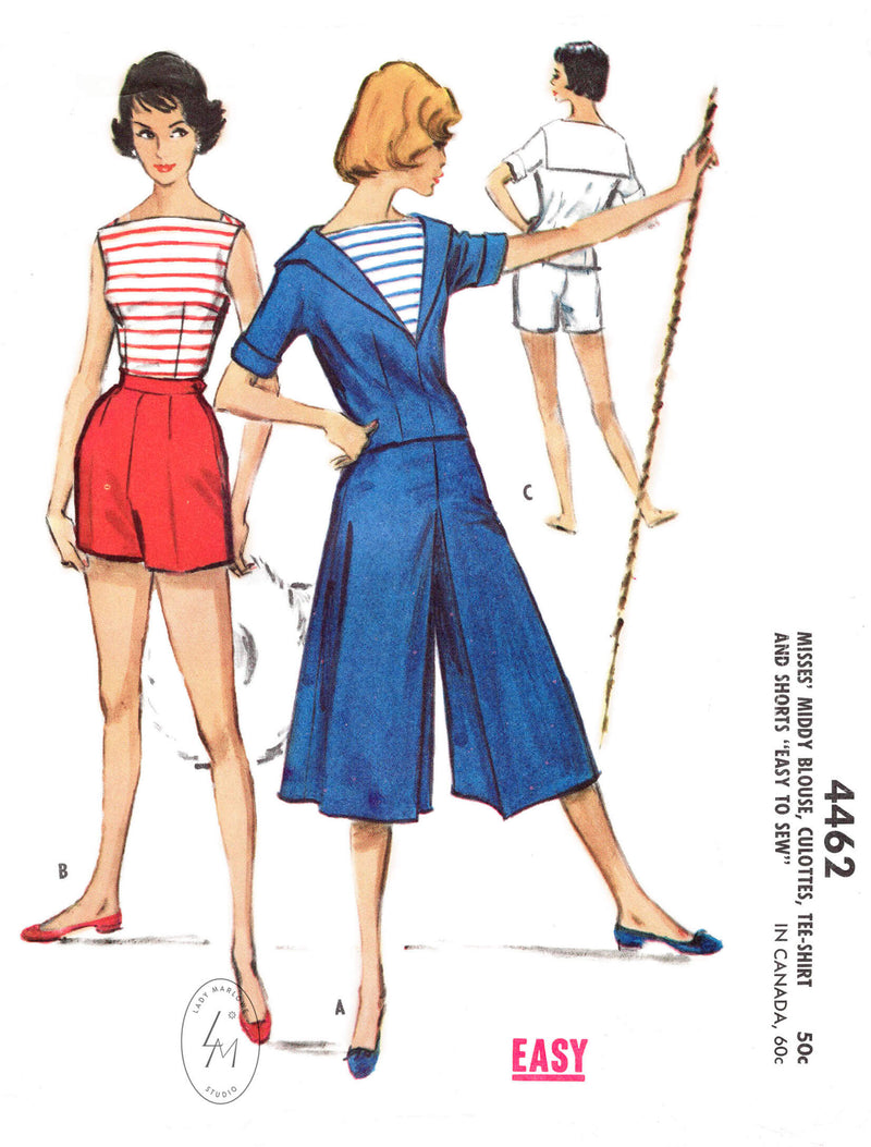 1950s 4 piece sewing pattern reproduction - sailor blouse, boat neck top, high waist shorts, wide leg culottes. McCall's 4462