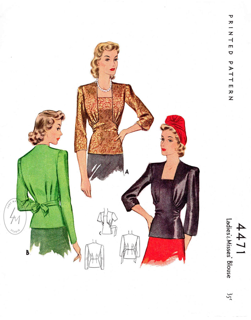 1940s 40s film noir blouse McCall 4471 square neckline 3 sleeves styles vintage sewing pattern reproduction