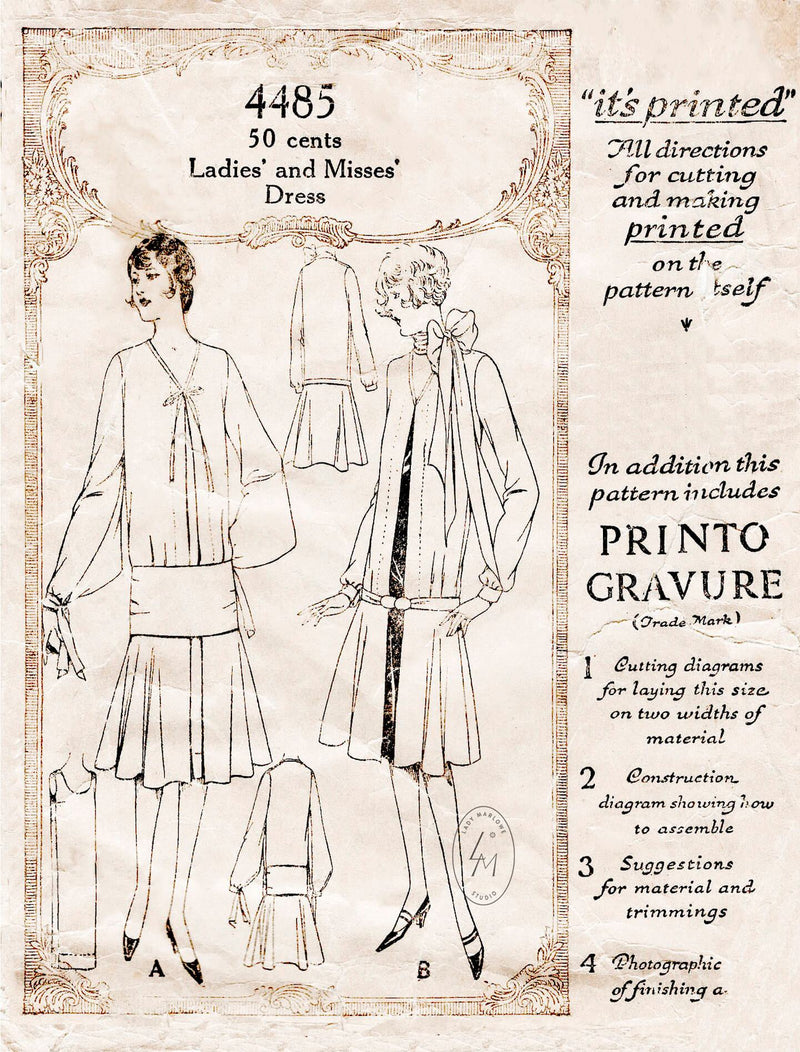 1920s McCall 4485 vintage sewing pattern flapper dress drop waist style reproduction