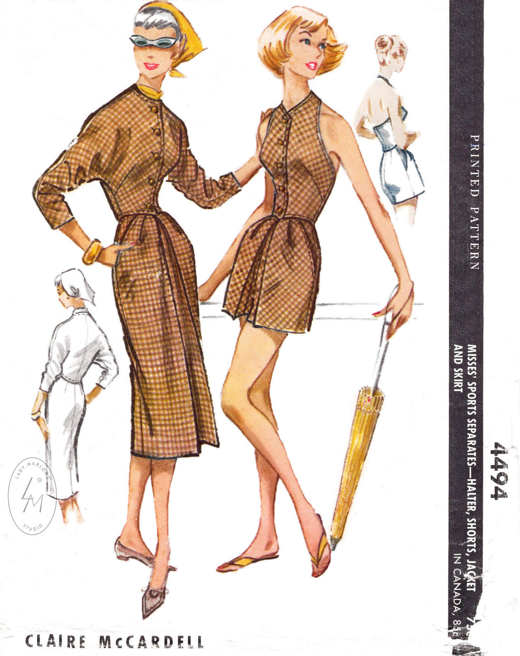 McCall's 4494 Claire McCardell 1950s 1960s vintage sewing pattern repo dolam sleeve dress beachwear