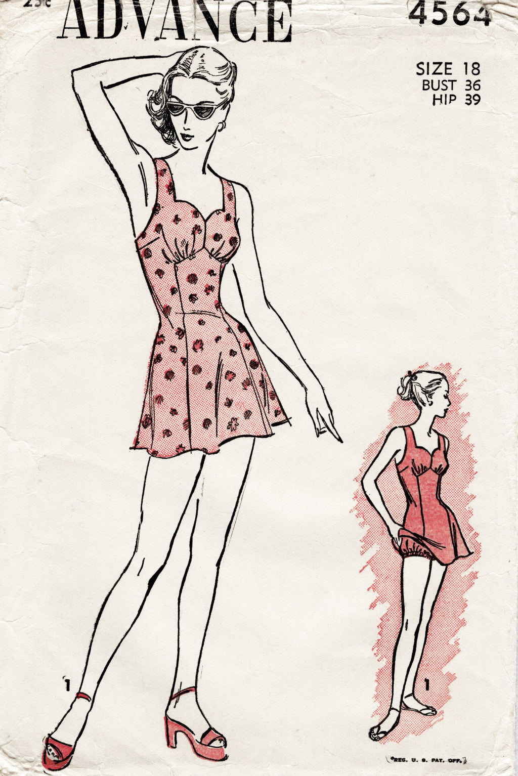 Advance 4564 1940s playsuit vintage sewing pattern