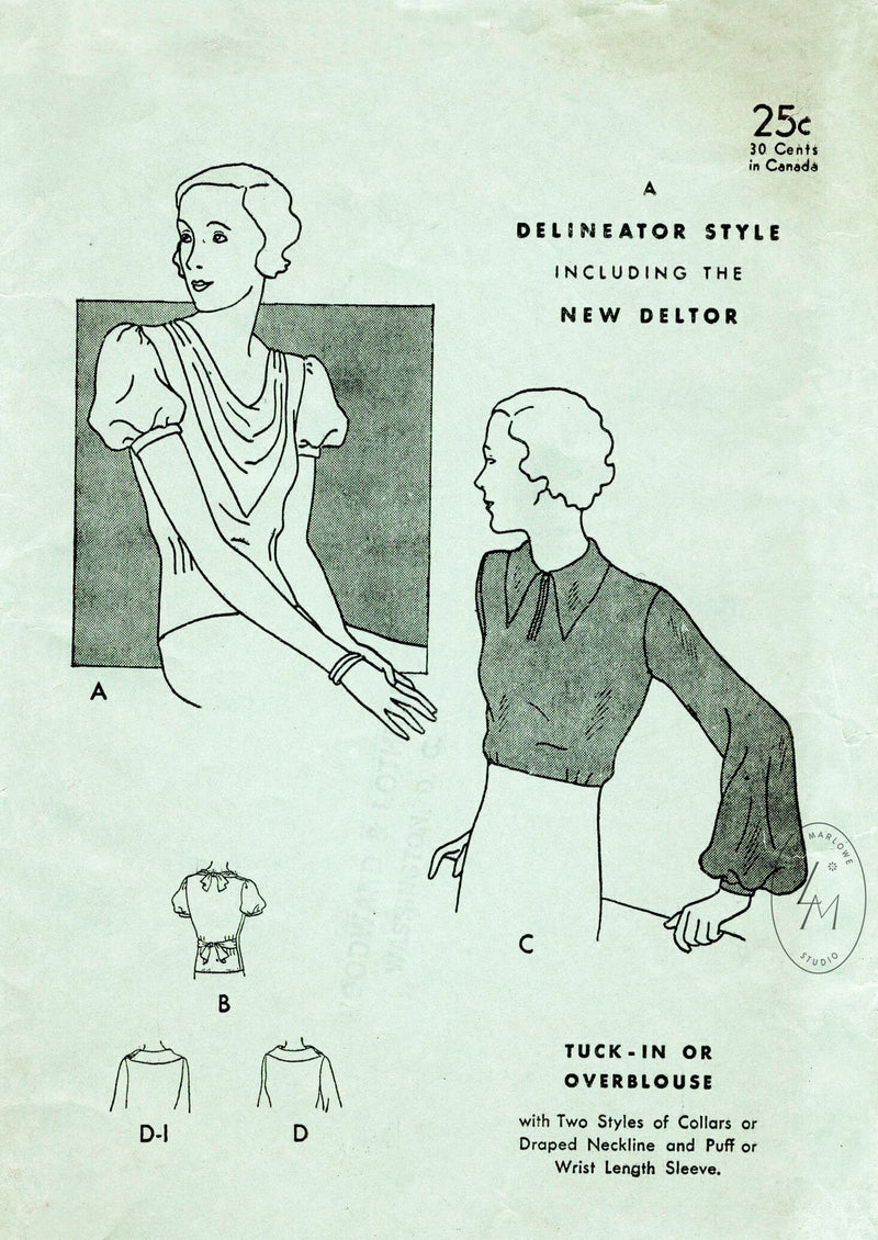 butterick 4565 1930s 1933 blouse in 4 styles vintage sewing pattern reproduction