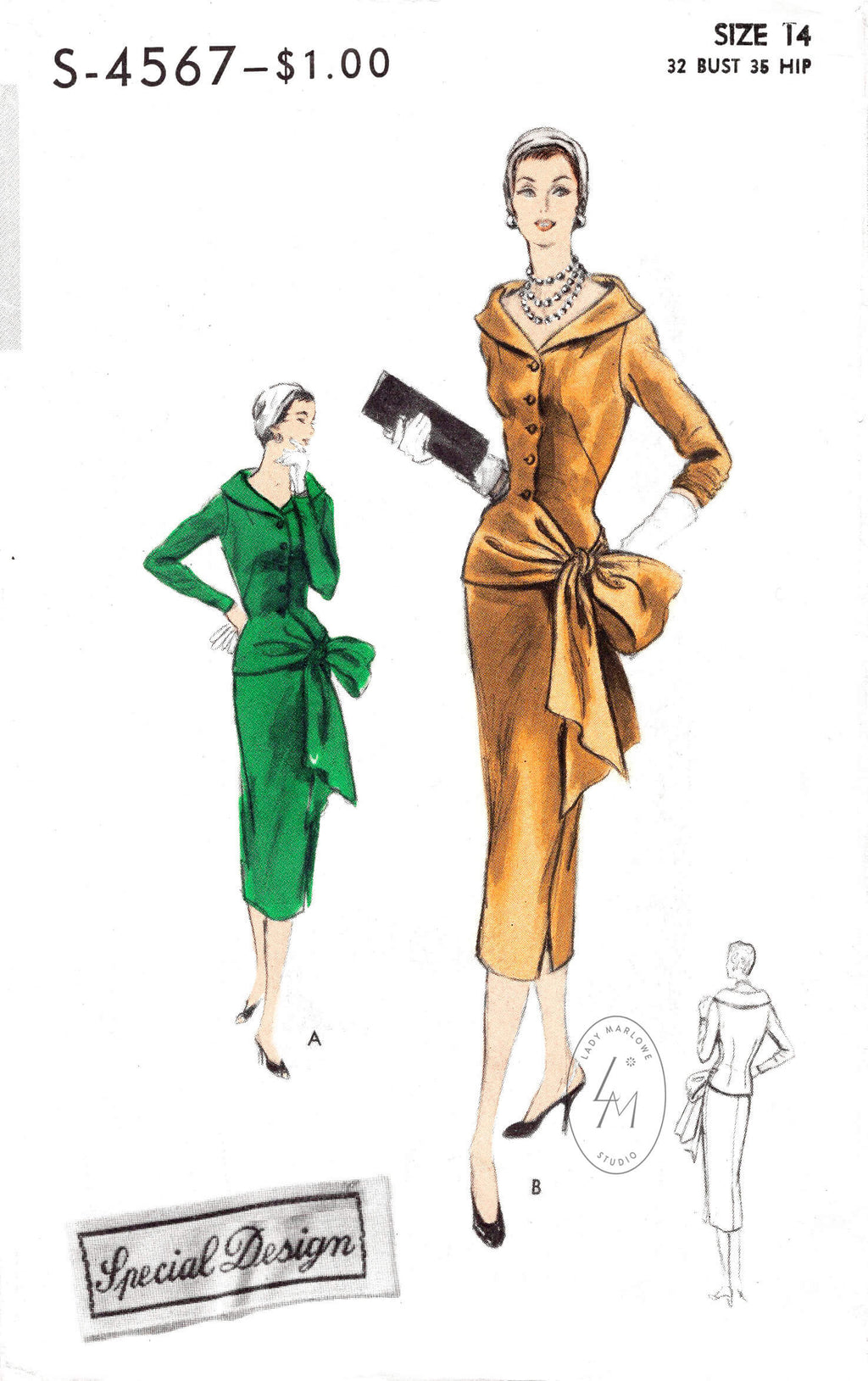 1950s dress vintage sewing pattern reproduction wiggle skirt draped side sash bow Vogue S-4567