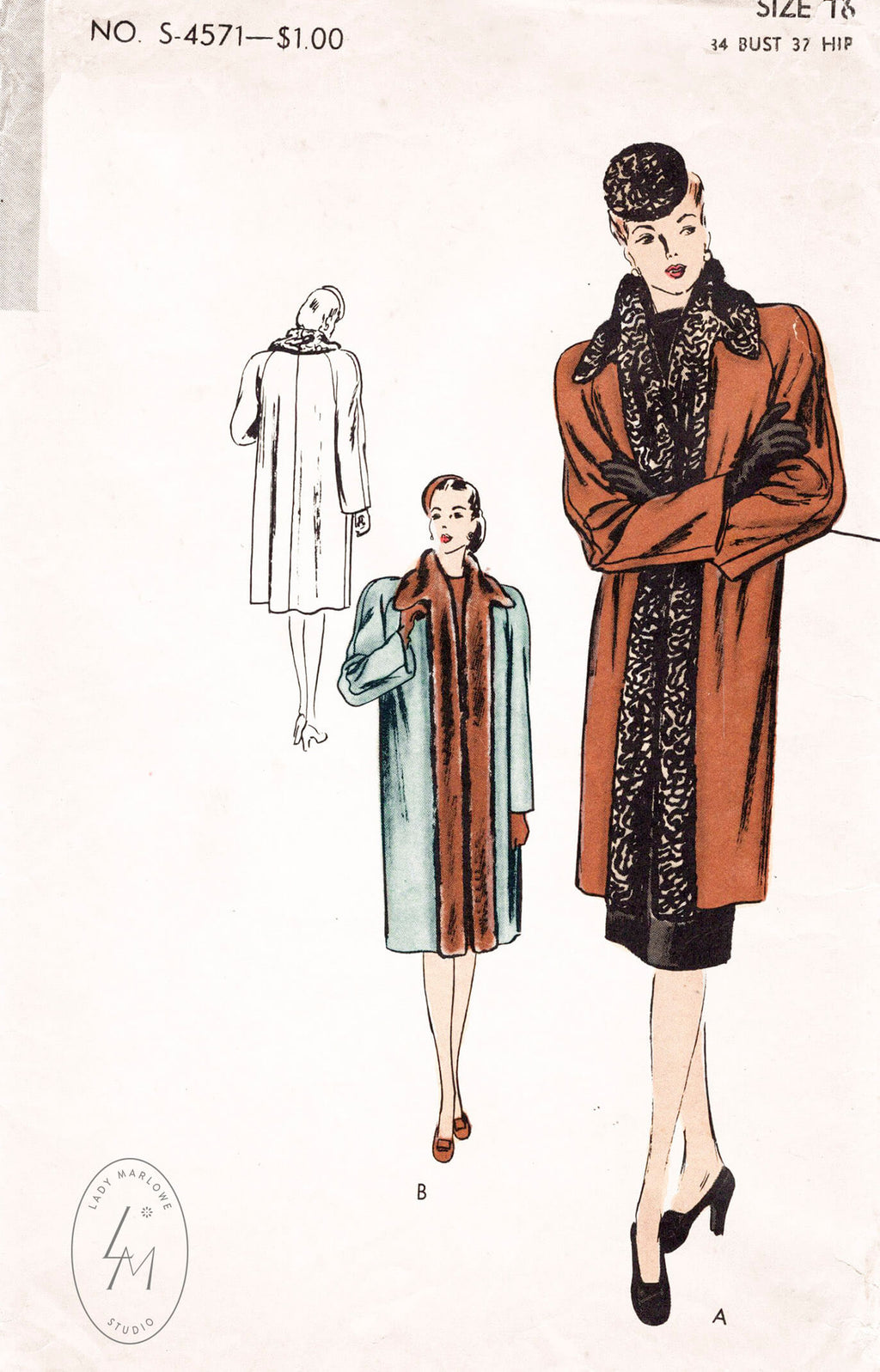Vogue S-4571 1940s coat sewing pattern
