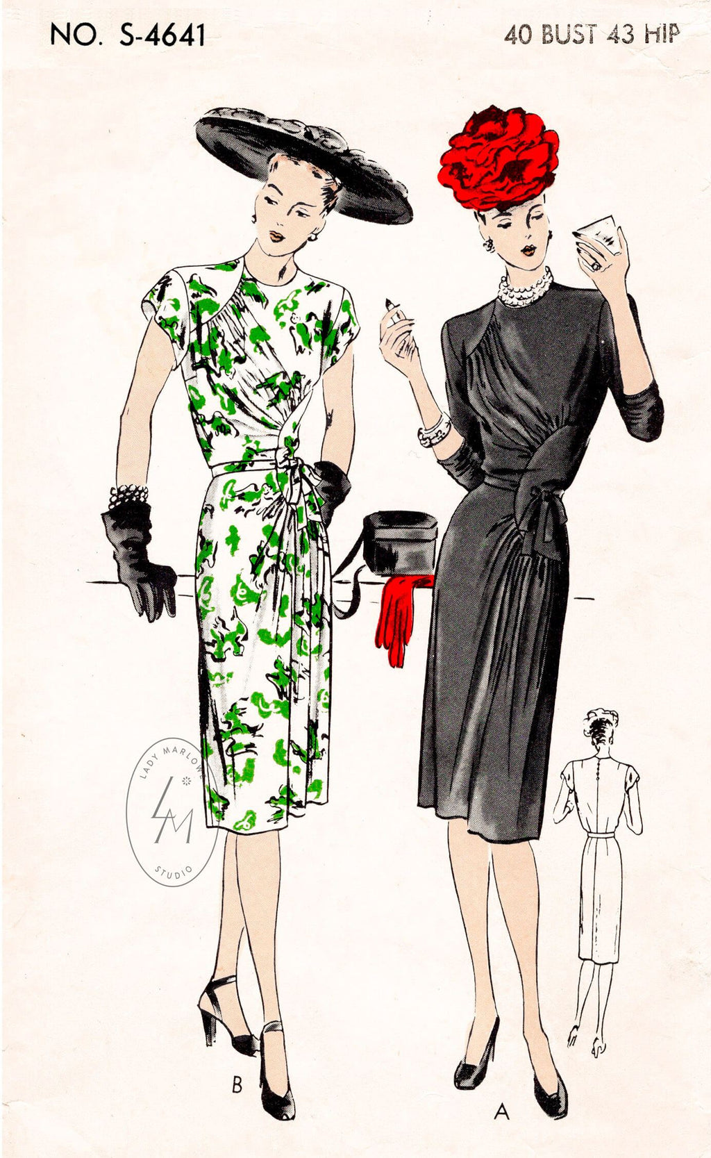 Vogue S-4641 1940s day dress sewing pattern