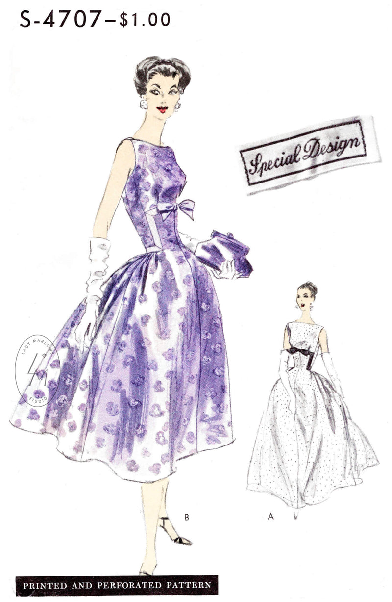 Vintage 96cm38 bust size 1950s long puff sleeve cocktail dress prom dressball gown sewing pattern.