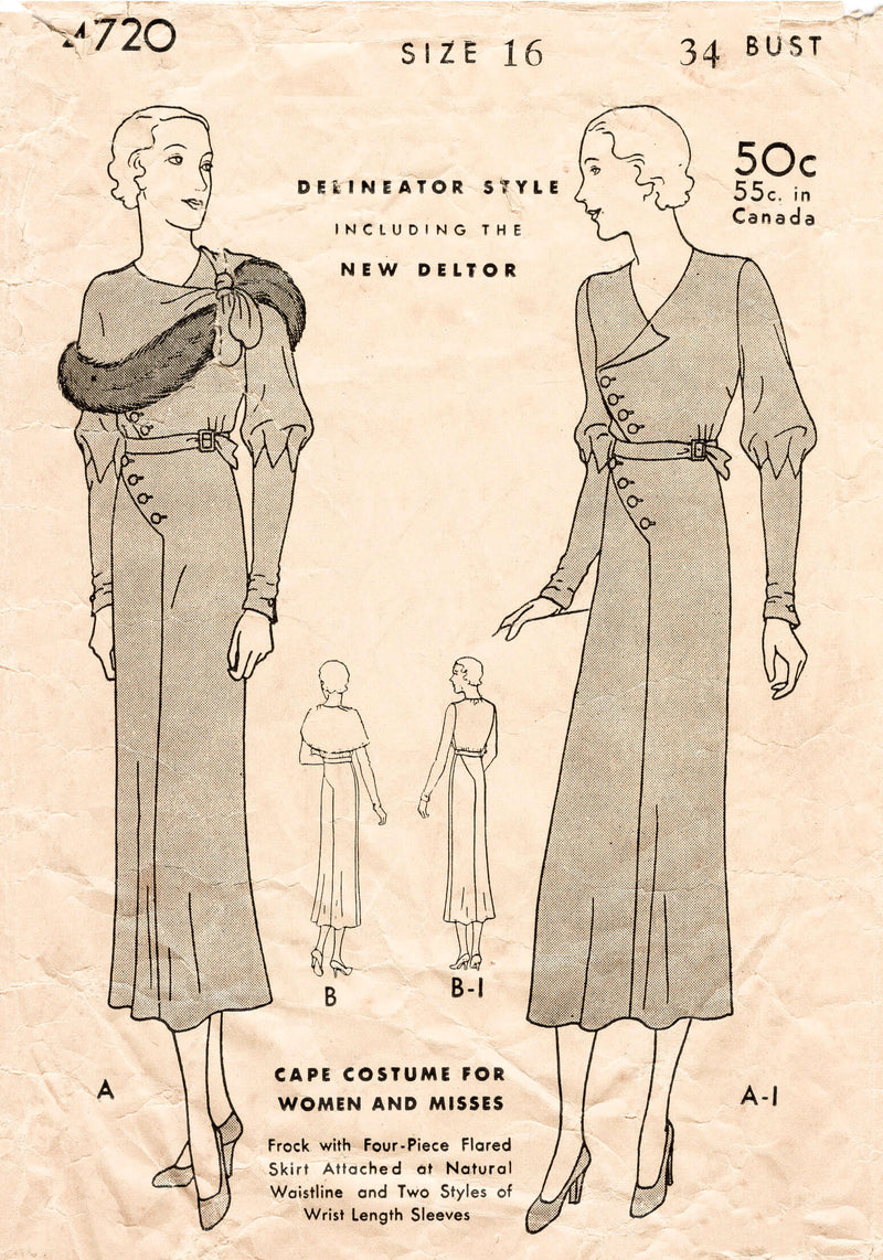 1930s dress vintage sewing pattern reproduction cape capelet Butterick 4720