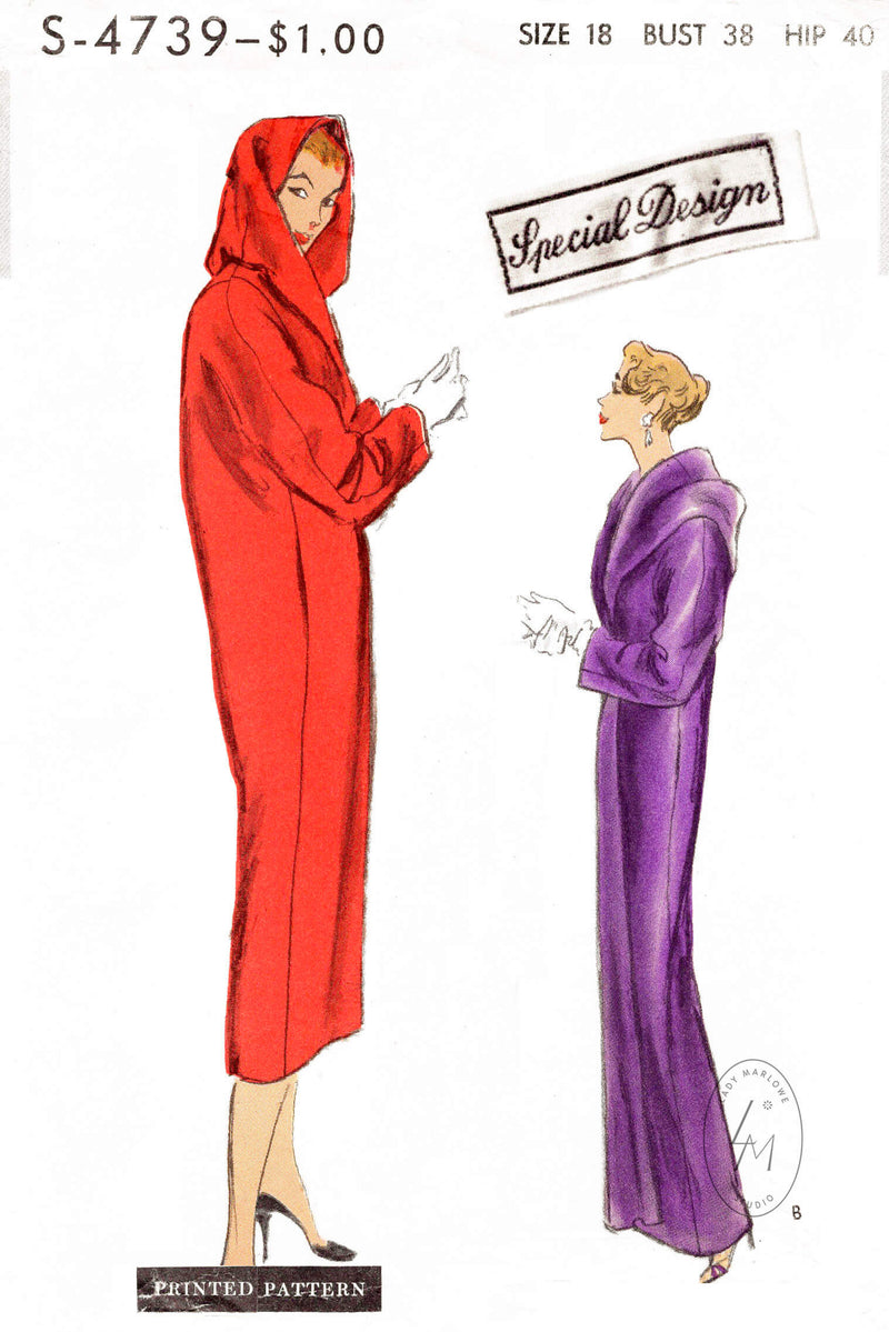 Vogue Special Design S-4739 1950s vintage sewing pattern repro cocoon coat