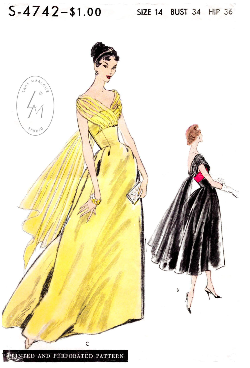 Vogue Special Design 4742 evening dress sewing pattern 1950 1950s 50s