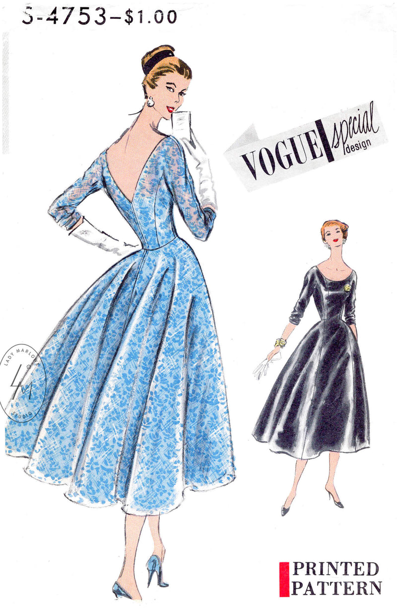 1950s cocktail dress vintage sewing pattern reproduction scoop neck, deep V back, full skirt and petticoat