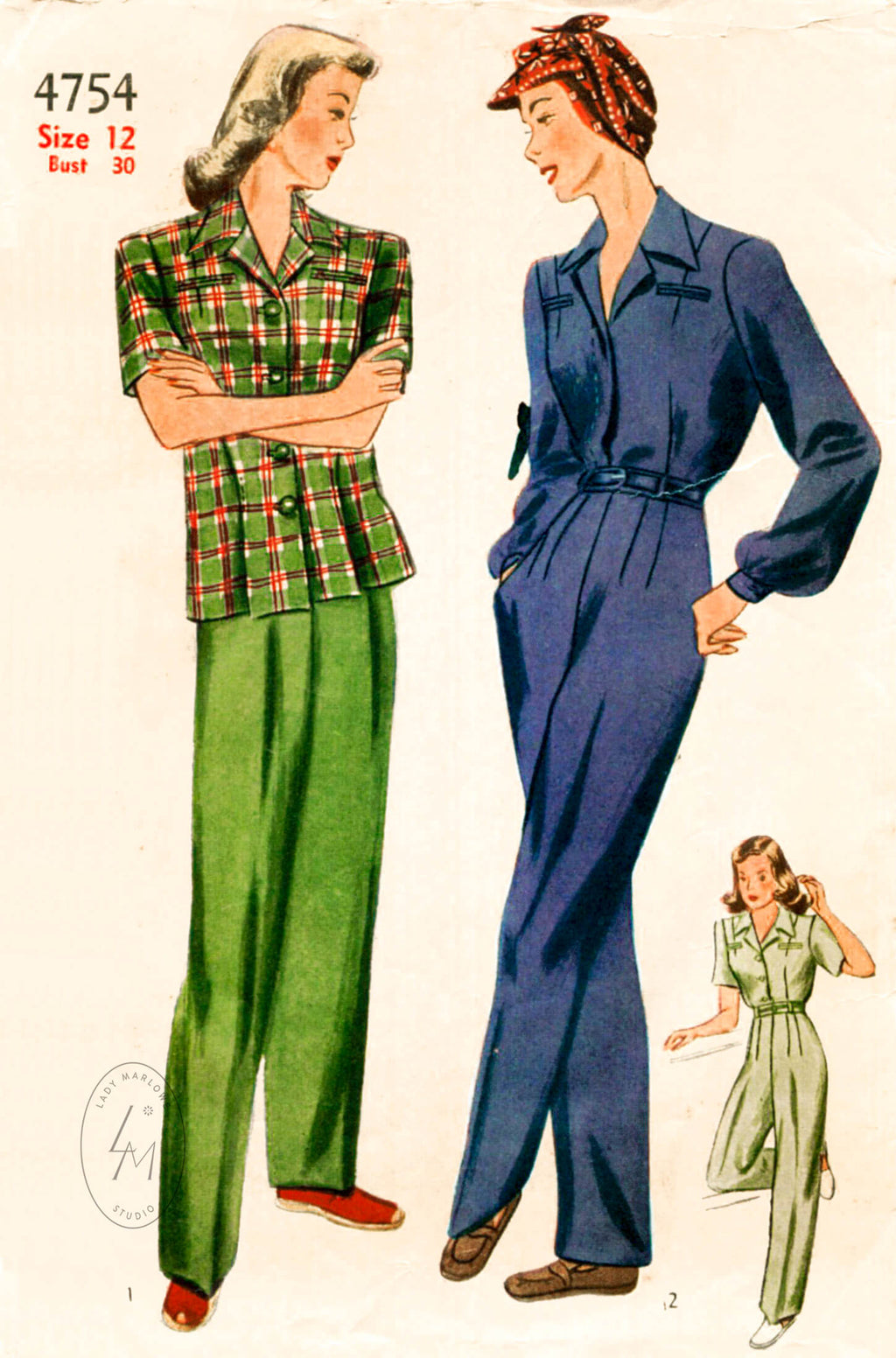 Simplicity 4754 1940s rosie riveter workwear sewing pattern