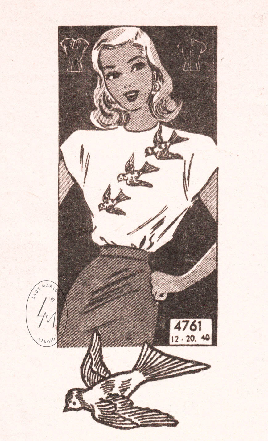 1940s blouse Anne Adams 4761 swallow bird embroidery vintage sewing pattern reproduction