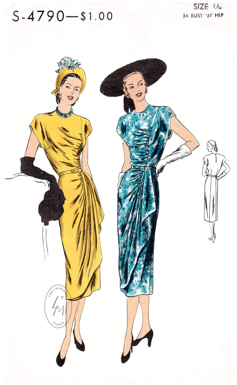 Vogue S-4790 1940s film noir dress with draped skirt front detail vintage sewing pattern repro