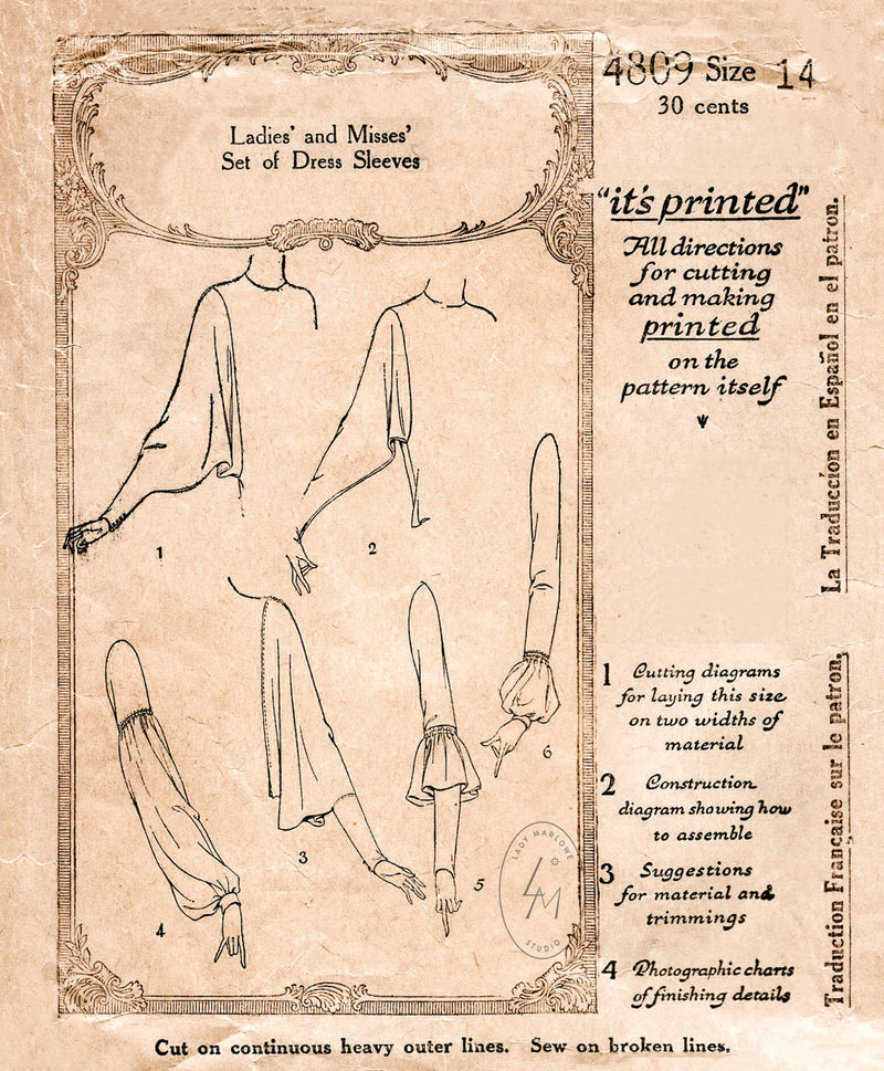 McCall 4809 1920s set of sleeves batwing draped shirred vintage sewing pattern reproduction