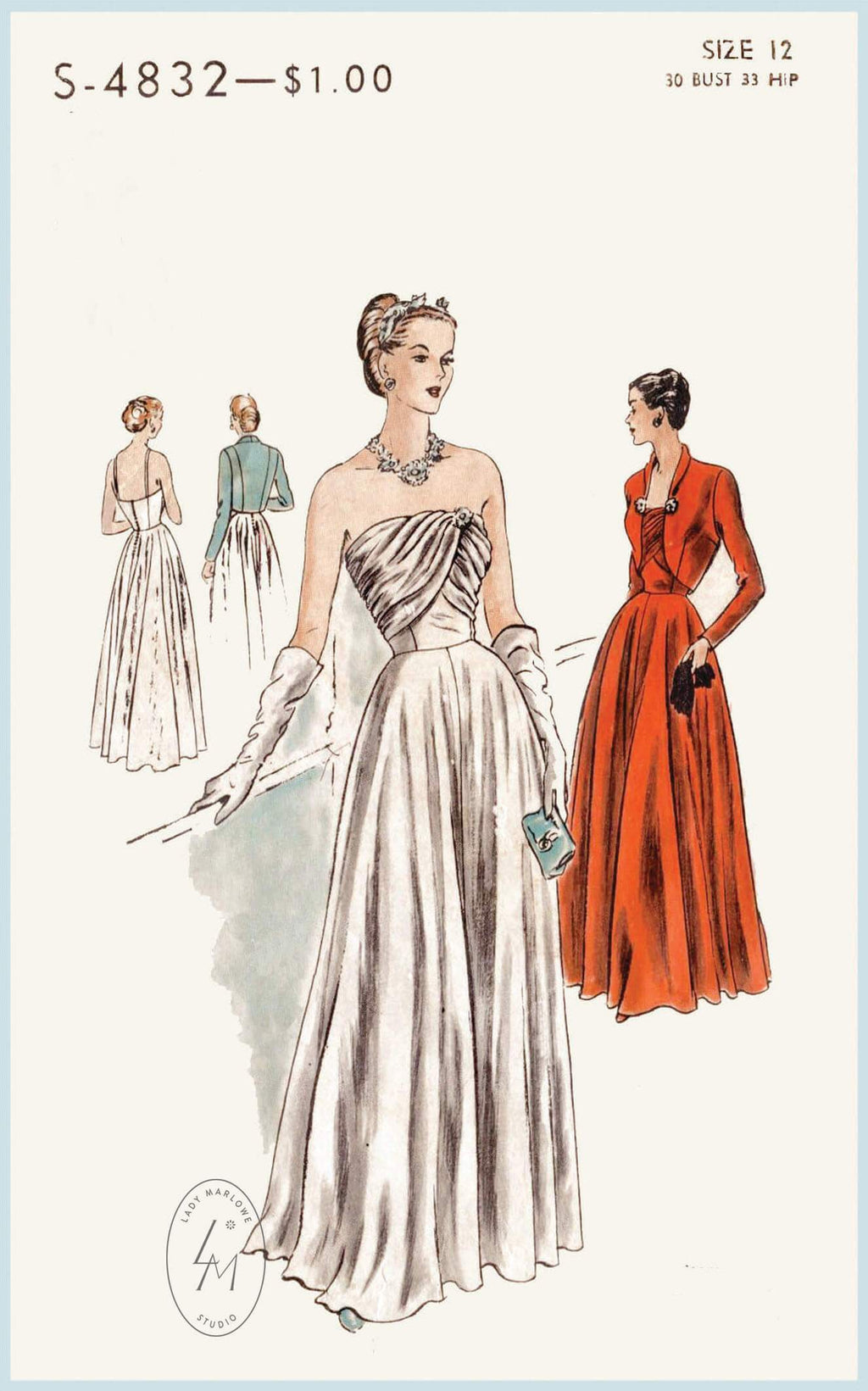 Vogue S-4932 1940s evening gown vintage sewing pattern