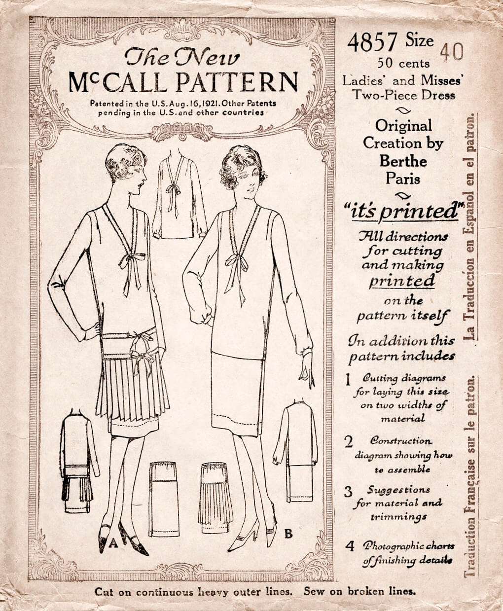 1920s 20s McCall 4857 nautical style tie collar pleat skirt flapper era dress vintage sewing pattern reproduction